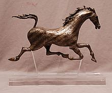 Silvered metal racing horse sculpture, 10