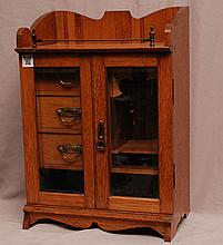 Miniature French wood cabinet, 2 doors open to reveal 3 small drawers, 18
