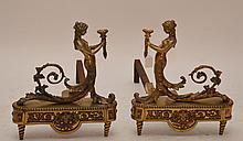 Pair of bronze figural andirons