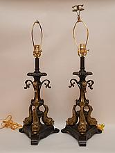 Pair of footed bronze lamps with 3 mythological serpent heads and leaf trim, 29