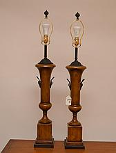 Pair of classical form wood lamps with metal fittings, 40
