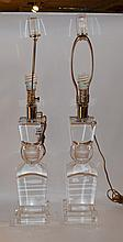 Pair Lucite cube and sphere form table lamp, 34