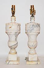 Pair Marble Lamps.  Ht. 22