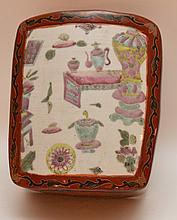 Chinese Red Lacquer Box with inset Chinese porcelain plaque.  Ht. 3 1/2