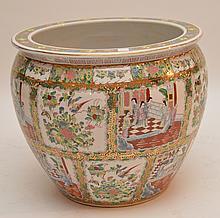 Large Chinese Porcelain Rose Medallion Style Fish Bowl.  Ht. 19