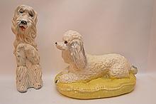2 chalkware puppy piggy banks
