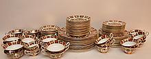 84 Piece Royal Crown Derby Imari Porcelain Dinner Service. 12 Dinner Plates Dia. 10 1/2