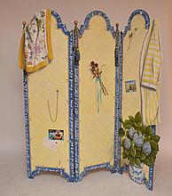 Trompe L'oeil Hand Painted 3 Pannel Screen.  Ht. 72