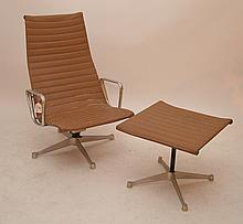 Eames for Herman Miller Aluminum Group Lounge Chair & Ottoman, stamped Herman Miller
