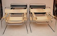 4 Knoll style Wassily Chairs (2 black, 2 white), Marcel Breuer design