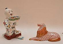 Two Herend Porcelain Figures.  One Chinese Man With Bowl. H. 4 1/2