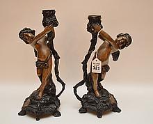 Pair Bronze Figural Angel Candlesticks.  Ht. 21
