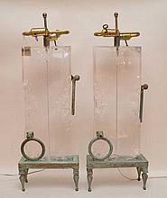 Pair Bronze & Lucite Lamps.  Ht. 30