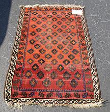 Carpet, Brown, cream border (single row) and red field (worn) 37-1/2