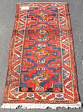 Carpet, 3 row border, red, blue and creams, 4 medallion center, 40