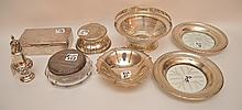 Lot of 8 sterling pieces, incl; reticulated basket, salt shaker, hinged box, small bowl, powder jar, pair glass and silver plates and sterling inkwell, 22ozt