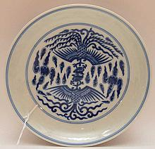 Blue & White Qing Dynasty Plate.  Dia 6 1/2