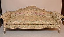 Vintage Venetian Rococo Style Carved & Upholstered Sofa.  Ht. 34