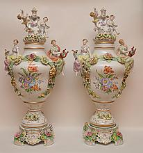 Pair German Porcelain Figural Urns & Covers.  Ht. 31