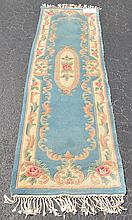 Domestic runner, blue, pink and cream, 2'3