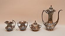 4pcs. Art Nouveau Silver plate floral motif tea service, incl; teapot, covered sugar, creamer and waste bowl