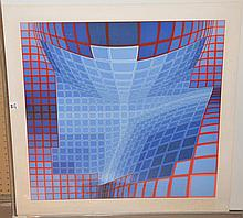 Victor Vasarely  (1906 - 1997) colored silk screen, modern geometric , images sizes approx. 26