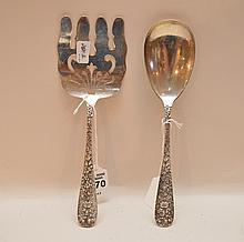 Two Steiff Sterling Serving Pieces.  One Asparagus Server Lth 9 1/4