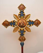 19th Century Russian religious cross with 10 icon paintings.