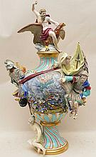 18th / 19th Century Meissen Porcelain Urn & Cover with multiple figures and raised battle scene center.  Ht. 26