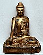 Seated wood buddha figure,  gilded and carved, 25