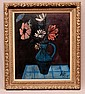 Charles Levier (FRENCH, 1920-2003) oil on canvas, Still life - modernist vase of flowers, signed lower right, also signed & titled verso