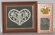 2 framed folk art pictures