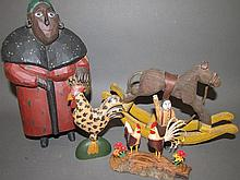 4 various folk art carvings