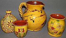 4 pieces of Lester Breininger redware