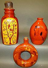 3 Lester Breininger redware bottles