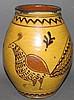 Greg Shooner sgraffito bird decorated redware jar