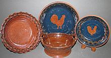 4 pieces of Ned Foltz redware