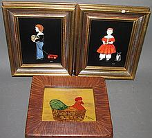 3 small folk art pictures