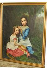 Folk art painting of two girls in a garden