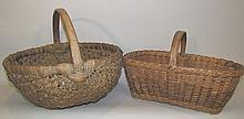 2 oak splint baskets