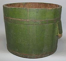 Green wooden bucket
