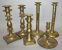 Lot of brass candlesticks
