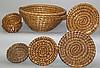 Group of 7 rye straw baskets