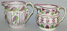 2 pink lustre pitchers