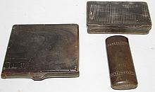2 match holders & snuff box