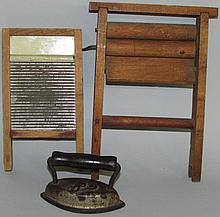 Doll wringer, washboard & sad iron