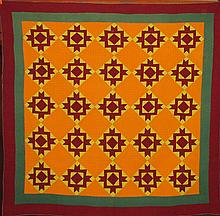 Pieced star block on point quilt