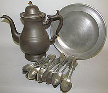 Pewter plate, teapot & spoons