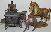 Cast iron stove & 2 banks