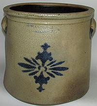 FH Cowden cobalt decorated crock